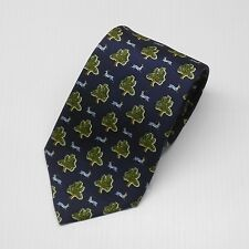 New with tags $95 Olimpo Tie Navy with Ibex Pattern 100% Silk Made In Spain