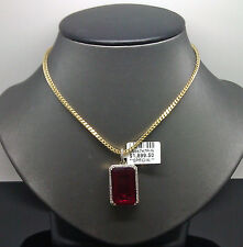 10K Men's Yellow Gold Rectangular Ruby Charm With 0.20CT Diamond #A7B2 Cross
