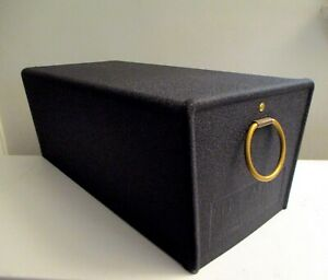 Vintage Mid-century Modern Mailbox w/ Wrinkle Black Finish & Brass Ring Pull NOS