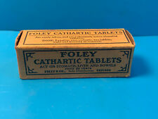 Vtg Drug Store Pharmacy Foley Cathartic Tablets Cork Top Bottle In Box W/ Papers