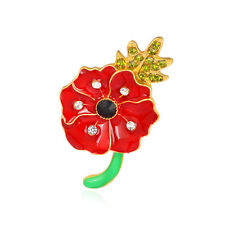Poppy Spilla Fiore Cristallo Diamante Spilla Badge Commemorazione Regalo 30A