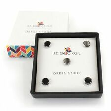 Dress Stud Round Black Silver NEW in Gift Box