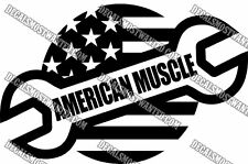 """""""AMERICAN MUSCLE"""" Car American Flag and wrench wall window decal die cut vinyl"""