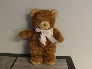 """RARE 12"""" Princess Soft Toys 2007 Plush Brown BEAR w/ Pastel Ribbon (*0)"""