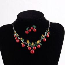 Simple Charm Banquet Temptation Cherry Enamel Leaf Fruit Necklace Earring Set