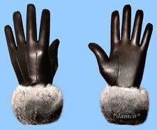 NEW MENS size 9.5 BLACK LEATHER GLOVES with GENUINE CHINCHILLA FUR TRIM