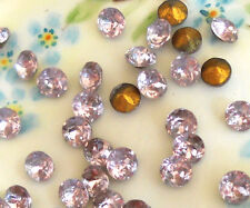 #225 Vintage Rhinestones 6mm Tiny Light Amethyst Gold Foil Back Violet NOS