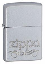 "Zippo ""Scroll"" Chrome Lighter, 24335, +Wick +Flints"