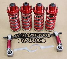 RED ADJUSTABLE COILOVER SPRING + TOP HATS + REAR CAMBER KIT 96-00 HONDA CIVIC EK
