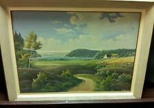 E Birk signed Danish Landscape framed painting oil on canvas 31 X 23""