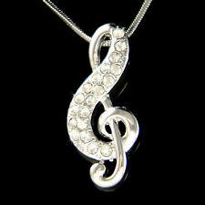 w Swarovski Crystal ~TREBLE CLEF music Musical NOTE Jewelry Pendant Necklace New