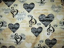 MUSIC NOTES HEARTS BLACK WHITE CREAM COTTON FABRIC FQ