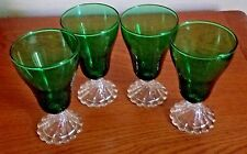 (4) VINTAGE ANCHOR HOCKING GREEN BOOPIE GLASSES