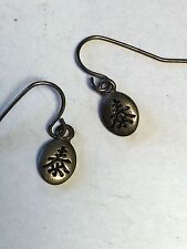 with hook silver tone Earrings Asian Symbol Love Dangle