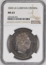 More details for 1820 lx crown milled ngc ms63 great britain george iii