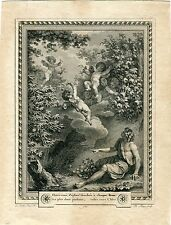 Gravure Ph. Triere il a inventé Le Barbier L´Aine siècle XVIII
