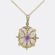 Victorian Amethyst and Seedpearl Pendant 9ct Yellow Gold
