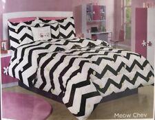 Bebe Twin Comforter Set Kitty Cat Meow Chevron Black White Polka Dot Dorm