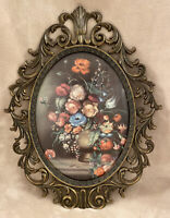 Large Vintage Floral Print Convex Oval Glass Ornate Metal Frame Made In Italy