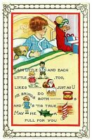Christmas ~Children~Whitney Picture Poem~Santa Claus Puzzle Rebus~Postcard--a405