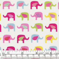 Cotton Fabric per FQ Elephant Retro Polka Dot Gingham Plaid Stripe Material VK13