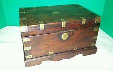 Antique Anglo Indian Campaign Lap Desk Chest Oriental Box