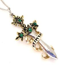 Sword of Sherwood Green Crystal Pendant Necklace Lost Treasures of Albion LT01