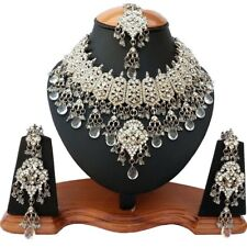 Gorgoues Indian Wedding Look SilverPlated Party Wear Zercon Jewelry Necklace Set