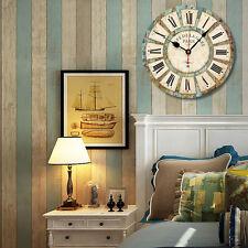 34CM Horloge Murale Quartz Européen Antique Bois Crochet Grande Shabby Chic Rond