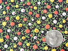"Vtg Golden Yellow Red White Flower Black Cotton Quilt Doll Fabric 44"" BTHY 1/2yd"