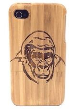 iPhone 5c Bamboo Wood Case ( Gorilla Laser Engraving ) 100% Genuine Wood Cover✔️