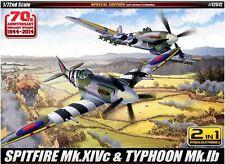 Academy 1/72 Spitfire Mk.XIVc & TYPHOON Mk.lb Aero Plastic Model Kit Gift 12512