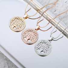 Tree of Life Celtic Pendant Religious Gold Silver Plated Cubic Zirconia Necklace