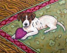 Jack Russell terrier dog art Print from oil painting Jchmetz 8x10 pop art folk