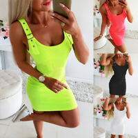 UK Women Summer Sexy U-Neck Bodycon Mini Dress Ladies Sleeveless Cocktail Dress