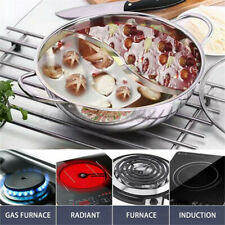 Stainless Steel Hot Pot Shabu Dual Site Divider Induction Compatible 15 inch