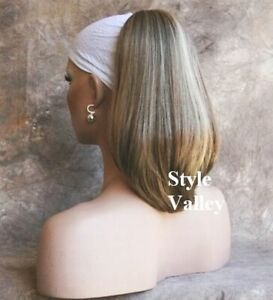 Brown Blonde Ponytail Straight/Wavy Reversible Drawstring Extension Hair Piece