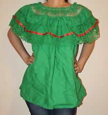 GREEN GYPSY PEASANT MEXICAN LACE OFF SHOULDER BLOUSE SMALL TO MEDIUM