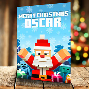 Minecraft Christmas Card - Personalised With Any Name and Age