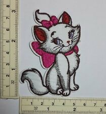 Aristocats Marie pink bow kitty cat Embroidered Sew On / Iron On Patch appique