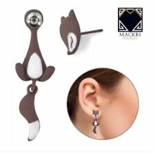 MACKRI Animal Earrings Sleeping Fox Stainless Steel Stud Earrings BROWN
