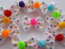 ! 50! cinta raso a lunares blanco colorido Rosa Moños-Mezcla De Color Corbata De Moño!