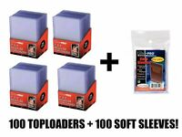100 Ultra Pro Regular Toploaders Top Loaders and 100 Sleeves Brand New!!!