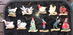 Vintage 12 Days Of Christmas Ceramic Ornaments Set