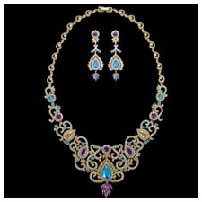 E1 Made With Swarovski Crystals The Tia Amazing Colorful Necklace Set $495