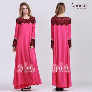 Women Lace Chiffon PinkGown Long Sleeve Comfortable Muslimah Dress Abaya US 42