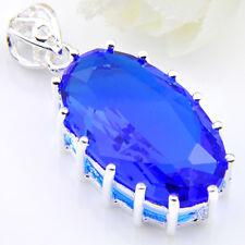 Rainbow Vintage Oval Shine Swiss Blue Topaz Silver Plated Pendants 1 3/8 Inch