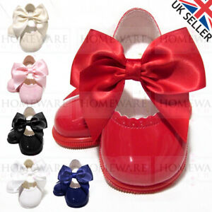 BABY GIRLS SHOES SPANISH HARD SOLE BOW MARY JANE PATENT PINK WHITE RED CREAM NEW