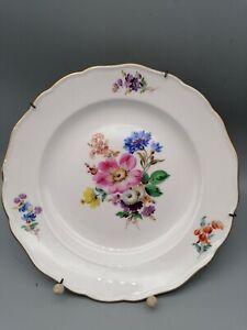 Meissen Prunkteller Prunkschale ca.24,5 cm Goldrand Stroh Blumen seit 1815 (042