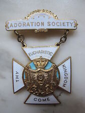 Vintage Adoration Society Eucharistic Adoration Cloisonne Enamel Pin Medal